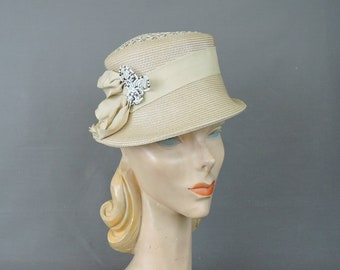 Vintage Hat Ivory Straw, Lacey Top, Beaded Bow, 1960s 21 inch head