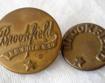 2 ANTIQUE Metal Brookfield Work Clothes BUTTONS