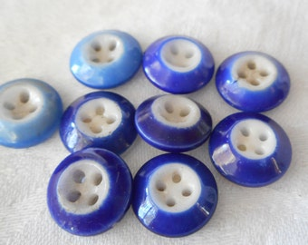 Lot of 9 ANTIQUE Blue Ring Sew Thru China BUTTONS