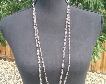 Necklace, Vintage Double Strand Link Chain