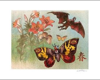 Mothra Zen Garden- 11 x 14 Signed Print