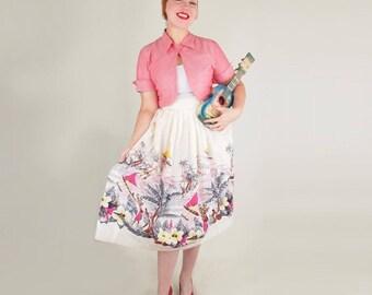 """50s Hawaiian Scene Novelty Print Full Skirt 27"""" waist"""