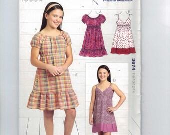 Girls Sewing Pattern Kwik Sew 3674 Girls Summer Dress Sundress High Waist Empire Peasant Size 7 8 10 12 14 UNCUT