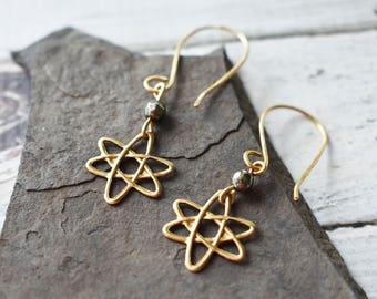 Atomic Symbol Earrings - Science Brass Atom Earrings- Chemistry Physics STEM Earrings- Pyrite Brass Atom Earrings