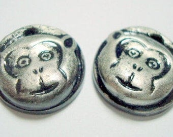 Monkey Face - Handmade Polymer Clay Focal Beads 20 mm Monkey Beads