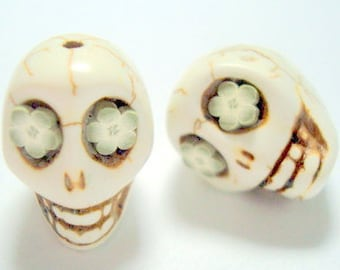 Olive Flower Eyes in Ivory Howlite Sugar Skull Beads