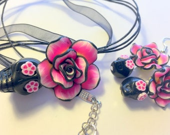 Sugar Skull Jewelry Set Black and Pink Day of the Dead Sugar Skull Necklace and Earrings Set