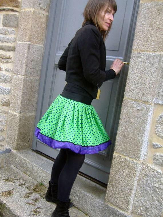 Ball design with blue polka dots skirt and Apple green. Pleated balloon skirt. Skirt woman original