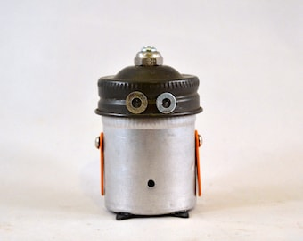 MR. BELLY BUTTON, Assemblage Art Recycled Robot Sculpture
