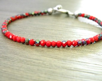 Red Glass Beaded Bracelet Silver Toggle Clasp Luster Beads
