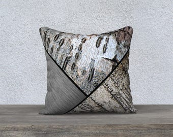 Graphic Birch Bark and Brushed Metal Print Velveteen Nature Throw Pillow Cover