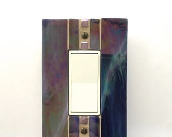 Iridescent Purple Switch Plate, Stained Glass Light Switch Cover, Decorative Switch Plates, Outlet Cover, Switch Plate Covers, Dimmer, 8683