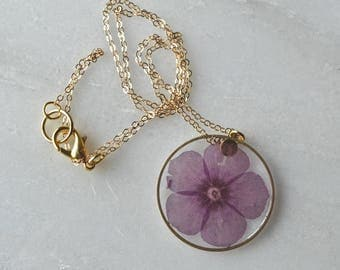 Pressed Purple Phlox Necklace Pressed Flower Jewelry Botanical