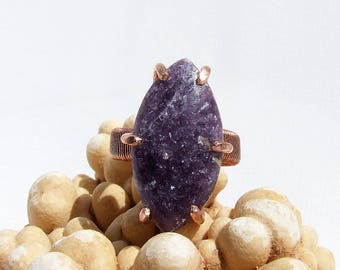 Lepidolite Ring, purple stone ring, natural stone, copper ring, marquise ring, size 4