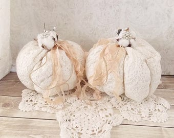 Shabby Cottage Chic Rustic Cotton Stem Vintage Lace  Tattered Fall Holiday Fabric Pumpkins Set of 2