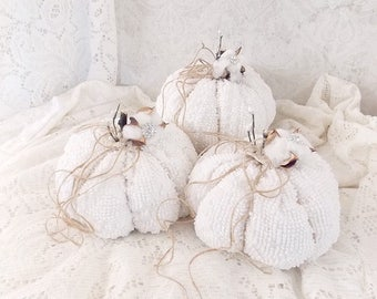 Shabby Cottage Chic Rustic Cotton Stem Vintage White Chenille Tattered Fall Holiday Fabric Pumpkins Set of 3