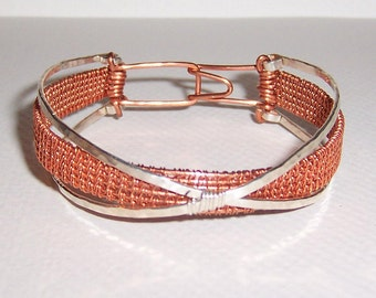"""Copper and Sterling Silver Wire Woven """"Stacked"""" Bracelet"""