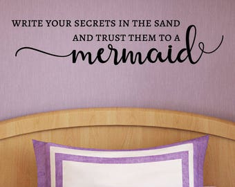 Wall Quote Decal Trust Your Secrets To A Mermaid Beach Ocean Kids Nautical Quote Inspirational Wall Art Vinyl Wall Decal