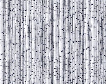 Birch Trees White Black Natural Treasures Blank Quilting Fabric