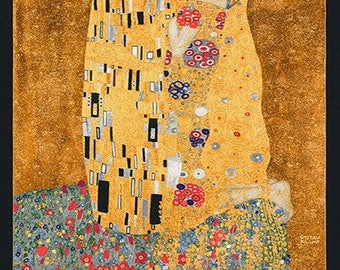The Kiss Gustav Klimt Art Kaufman Fabric Panel