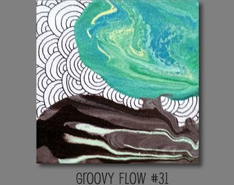 Groovy Abstract Acrylic Flow Painting #31 Ready to Hang 4x4
