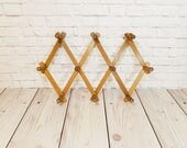 Vintage Wood Nevco Accordion Hanger Peg Rack