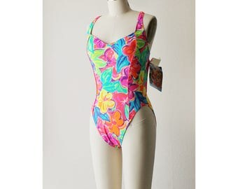 SALE - NOS 1980s Neon Floral French Cut One Piece Swimsuit