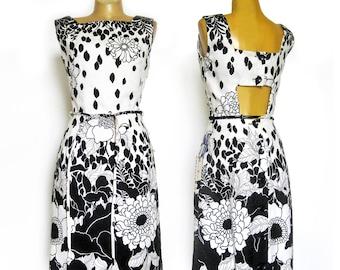 1960s Dress / Sleeveless Sheath Dress w/ Peek-a-Boo Back and Tie Belt / Black and White Hawaiian Floral Dress with Tags / Joan Curtis Dress