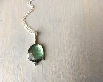 Tourmaline and Aquamarine Necklace, Faceted Cabochon, Turtle Pendant, Sterling Silver, Prong Set,