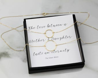 Mother Daughter Necklaces, Christmas Gifts, Mother Daughter Jewelry, Mother Daughter Matching, Mother's Day Gift, Eternity Ring, Meaningful