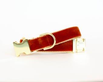 Autumn Velvet Dog Collar in Cinnamon - Fall Dog Collar in Rust - Classic Velvet - Vintage Style