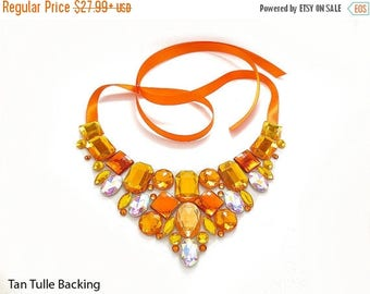 ON SALE Orange Rhinestone Bib Necklace, Discount Orange Rhinestone Statement, Orange and Yellow Bib Necklace, Sale Statement Necklace