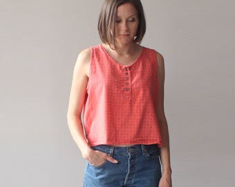 vintage 90s muted red tank top | cotton box top | 1990s medium