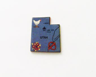 1961 Utah  Brooch - Pin / Unique Wearable History Gift Idea / Upcycled Vintage Wood Jewelry / Timeless Gift Under 25
