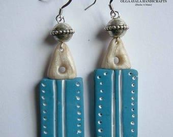 Blue Tribal 2 Sided Carved Earrings