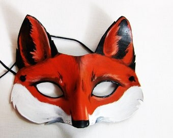 Leather Fox Mask - Woodland Animal Masquerade Cosplay