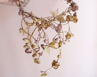 gold hair vine, luxe Swarovski headpiece, mauve wedding, gold bridal headpiece, gold flower crown, butterfly crown, fantasy wedding hair