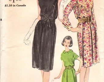 1960s Vogue 5665 UNCUT Vintage Sewing Pattern Misses One Piece Dress, Afternoon Dress Size 16 Bust 36