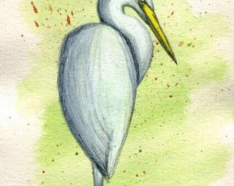 Great Egret Bird - Original Ink Watercolor Painting Drawing - 4.5 x 7