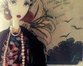 Leila - Vintage 1920s Bohemian Flapper Inspired Rag / Cloth Doll