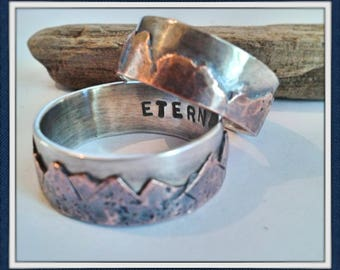 Mountain range set of 2 bands - Custom sterling silver and copper- your choice of widths - rustic- natural - organic