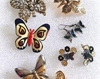 Vintage Butterfly Jewelry 9 piece Lot Brooches Earrings Enamel Rhinestones Chrome Spain W Germany Mid Century Gold Silver Tone Lot of Nine