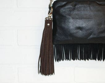 """10"""", brown tassel, suede tassel, recycled leather, leather bag charm, leather fringe, leather keychain, upcycled, wholesale, stacylynnc"""