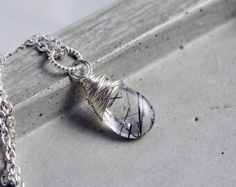 Gemstone Necklace, Tourmalinated Quartz, Crystal Necklace,