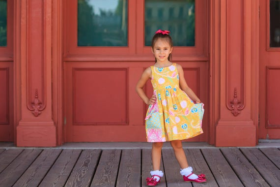 Yellow and Pink Peacock Dress - knot pocket dress - Pink and yellow Dress with Pockets - Aqua and Pink Dress