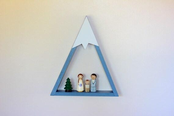Slate Blue Mountain Shelf Room Decor Snow Peak Forest Reclaimed Wood Woodland Triangle Geometric