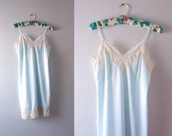 Vintage Blue Slip | 1970s Gaymode Blue Full Short Slip M