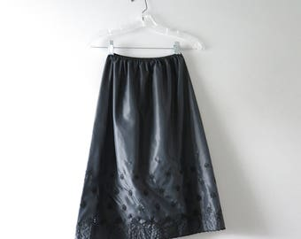 Vintage Black Petticoat | 1960s Black Embroidered Petticoat XS/S