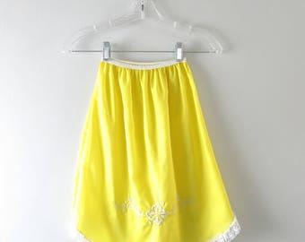 Vintage Yellow Slip | 1960s Lemon Yellow Embroidered Half Slip XS Deadstock