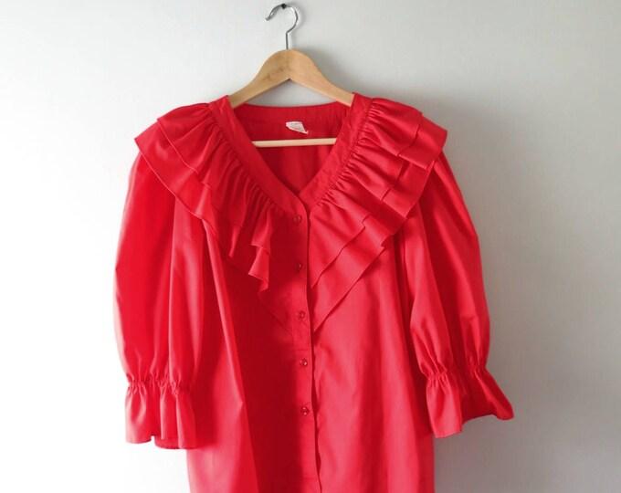 1970s Red Poets Blouse | Vintage Ren Faire Pirate Senorita Costume Top L